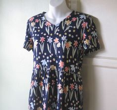 Daisy Print Navy Blue Knit Maxi Dress~Long Blue Lounge/Casual Dress/Small/Talbot #Talbots #LoungeCruiseBrunchCasualErrandsWork