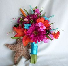 2013 Bridal Trends Beach wedding Bouquet Malibu blue Silk flowers, tropical, Tangerine Malibu Guava accessories destination wedding cruise. $125.00, via Etsy.