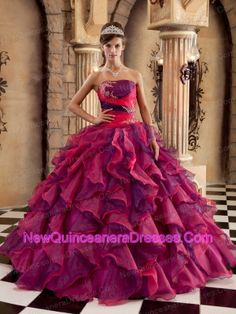 Brand New Multi-color Quinceanera Dress Strapless Organza Ruffles Ball Gown