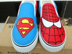 Super Man Shoes Spider Man canvas shoes painted canvas shoes sneakers for women/man/kid