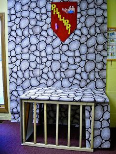 Table with stone bulletin board paper and bars