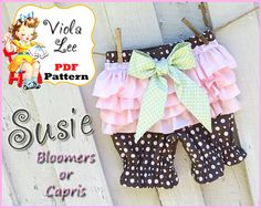 Susie...Girl's Ruffle Bloomer Pattern and by ViolaLeePatterns