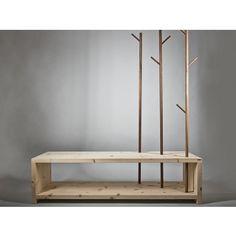 Designer Garderobe aus Massivholz Nuss/Zirbe