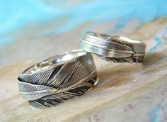 Unique Custom Wedding Rings, Alternative Handmade Silver Wedding Bands, Feather Rings by HappyGoLicky Jewelry