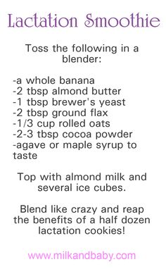 We found this anonymous lactation smoothie recipe and had to share! Let us know how it works for you! www.milkandbaby.com #breastfeeding