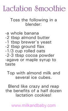 Lactation smoothie-equivalent to 6 lactation cookies : ) Lactation Recipes, Lactation Cookies, Lactation Foods, Smoothies, Baby Feeding, Breast Feeding, Lactation Smoothie, Mommy Workout, Nursing Tips
