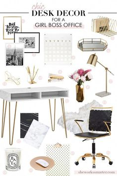 Chic Office Design For A Boss Babe! Get The Look Of This Glam, Feminine  Home Office With My Free Shopping List. Create A Stylish Affordable Home  Office ...
