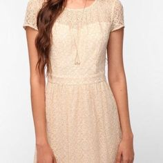 Urban Outfitters Cream Open Back Dress
