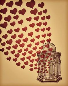 Let Love Free  Romantic Hearts  Birdcage  by maybesparrowsplace, $30.00