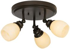 """LED Elm Park Collection Bronze 3-Light Adjustable Light Fixture - Style # 44863-X3117 - Sale $184.95; reg: $204.99 - compare: $309.99 - Valid thru 3/31/2013; Ceiling or wall mounted. The three lights are multi-directional and may be adjusted as needed;  oil-rubbed bronze finish. With crackle-style amber glass. ProTrack Energy Efficient Lighting; Three 7 watt par20 LED energy efficient bulbs included.Estimated lifespan 40,000 hours LED light bullb; 11"""" wide. 8 7/8"""" high."""