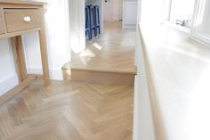 European Oak Herringbone for a Kitchen & Boot Room in Cambridge. The Engineered Oak Herringbone blocks were lacquered with Pallmann Pall-X Pure Lacquer Herringbone, Cambridge, Tile Floor, Stairs, Flooring, Pure Products, Kitchen, Room, Home Decor