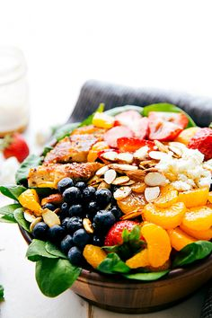 Almond, Berry, and Chicken Spinach Salad with a Delicious and Healthy Balsamic…