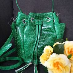 "1 LEFT! - Andie Bucket Bag in Green Croco Andie bucket bag from Snob Essentials. Top handle and optional shoulder strap. Two external side pockets on either side and interior zip pocket. Approximately 9-3/4"" L, 6-1/2"" W,  10""H. 6-1/2 L handle drop with removable 24-1/2"" L cross body strap. Never been worn. Silver hardware. Also available in blue Saffiano.  No trades.  No paypal. Instagram: @Jhennay262 Snob Essentials Bags Crossbody Bags"