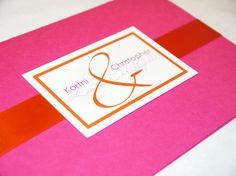 fucia pink, white and orange whimsical swirl motif with ribbon invitation