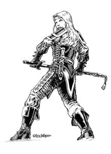 This stock art image by Eric Lofgren depicts a determined female human warrior drawing her sword against a coming foe, in B/W. $10.  www.rpgnow.com/product_info.php?products_id=124760&affiliate_id=34429&src=Pinterest