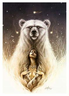 """Bear Spirit"" The shaman recall.I am a Native American Mama Bear. Bear Spirit Animal, Spirit Bear, Spirit Animal Tattoo, Spirit Tattoo, Native Art, Native American Art, American Tattoos, Bear Art, Wow Art"