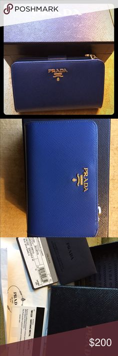 f5352569800a Prada Wallet Blue Saffiano Prada wallet with gold-tone hardware, zip  compartment at front, tonal interior lining, four slit pockets and ten card  slots at ...