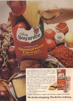 Chef Boyardee Spaghetti Dinner, 1968 ~ I  loved this for lunch! There was something in the sauce that made it so good! (Probably MSG!)
