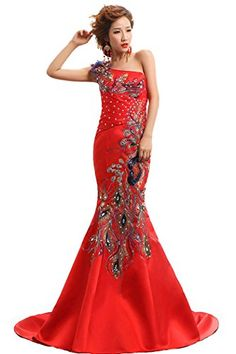 3a88a57e6 Beauty-Emily Women's Peacock Embroidery Mermaid One Shoulder Formal Dress  Size 6, Color Red