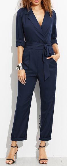 Navy Surplice Self Tie Tux Jumpsuit