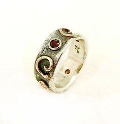 Popular gift for her, birthstone ring,  spiral design, spiritual ring, set with four gems, Ilan Amir