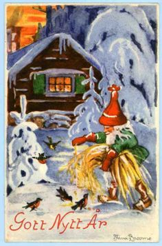 Stina Broomé - Gott Nytt År - Tomte med julkärve på Tradera. Signerade |