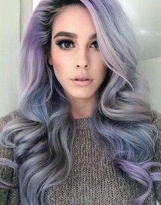 Beautiful gray and lavender hair. <3