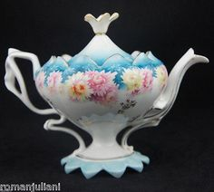 Antique R S Prussia Footed Pedestal Tea Pot Chrysanthemum Colorful Florals