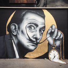 "Meltinggggg ""Salvador Dali"" - 3x2m - London, UK - 2017 • Located at @lukejacoblondon - big up!"
