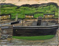 Alfred Wallis - Low water, n. Painting, Reserve collection, Oil on card 303 x 388 mm Landscape Art, Landscape Paintings, Romantic Artwork, Small Fishing Boats, Painting Collage, St Ives, Art Uk, Naive Art, Art For Art Sake