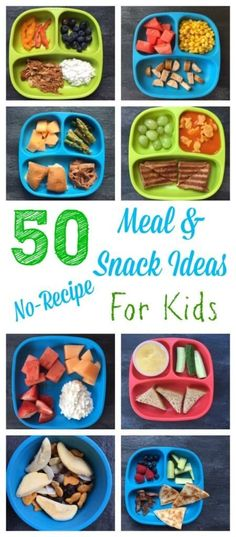50 healthy meal and snack ideas for kids that require minimal cooking and no recipe! @Mom to Mom Nutrition- Katie Serbinski, MS, RD