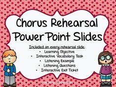 THESE SLIDES WILL REVOLUTIONIZE YOUR CHORUS OR CHOIR REHEARSALS!ALWAYS BE READY FOR YOUR OBSERVATIONS WITH YOUR LEARNING OBJECTIVE ALWAYS DISPLAYED! NO MORE SEARCHING FOR LISTENING EXAMPLES!  EVERY LISTENING EXAMPLE IS LINKED TO A HIGH QUALITY AUDIO OR VIDEO RECORDING ON YOUTUBE!All slides can be EASILY EDITED to fit your specific needs!100 POWERPOINT SLIDES IN TOTAL!The PowerPoint slides that you find here are the result of many years of experience as a choral music teacher in the public…