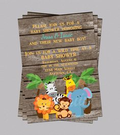 Jungle Baby Shower Invites Zoo Animal Baby by PeekabooPenguin