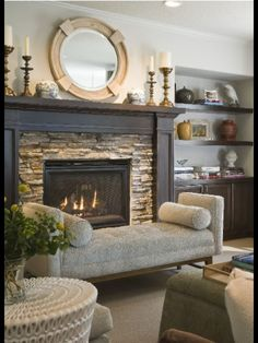 Beautiful Fireplace & Space For All-Important Books!