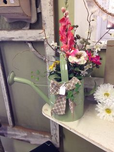 Decorated Watering can, spring home decor
