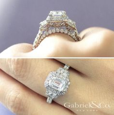 Gabriel & Co.-Voted #1 Most Preferred Fine Jewelry and Bridal Brand.  Meet Andrea - 18k White Gold Emerald Cut 3 Stones Halo Engagement Ring
