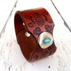 Womens leather cuff bracelet Ethnic leather by Jullyetjewelryshop