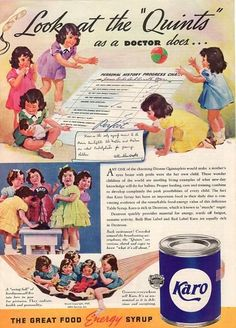 Vintage 1937 Dionne Quintuplets Karo Syrup Magazine Print Advertisement Paper Ad