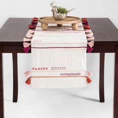 Embroidered Colored Tassel Table Runner - Opalhouse™ : Target