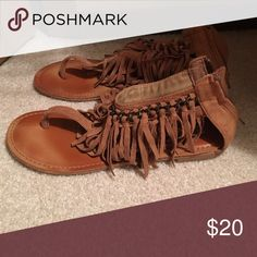 Worn one time Tan sandles with fringe Not Rated Shoes Sandals