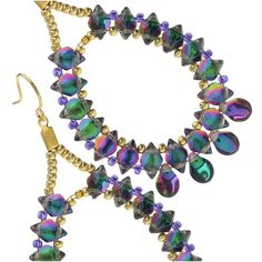 Vibrant, glowing Czech glass 2-hole GemDuos and pip beads nestle together on handmade beading wire forms in these summery statement earrings. The perfect complement to a tropical drink.