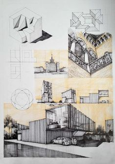 New landscape architecture sketch colour ideas Architecture Concept Drawings, Architecture Sketchbook, Architecture Collage, Architecture Board, Architecture Portfolio, School Architecture, Architecture Details, Landscape Architecture, Pavilion Architecture