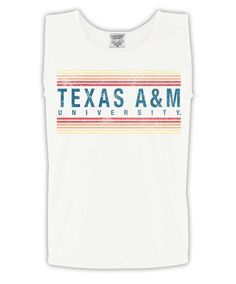 6b6cd225b22d75 Texas A M Aggies White Stripes Comfort Colors Tank Top Comfort Colors