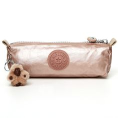 Gorgeous!! Kipling Freedom Metallic Pen/Comestic Case in Rose Gold