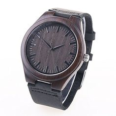 Men Bamboo Wood Watch Shellbay Genuine Leather Band Casual Watch with Quartz Analog * Click image for more details.Note:It is affiliate link to Amazon.