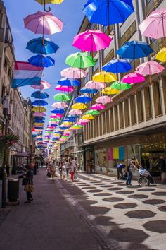 Shopping Street lined with colourful umbrella's in Luxembourg City