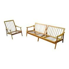 Mid-Century Italian Walnut Sofa and Chair Set