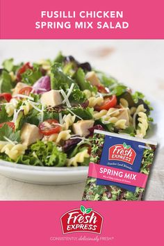 Hunting for recipe ideas for your Easter celebration? Try this effortlessly impressive Fusilli Chicken Spring Mix Recipe. Made with Fresh Express tender lettuces and greens, fusilli pasta, roast chicken, grape tomatoes and complete with your favorite vinaigrette, it will satisfy all your hungry Easter bunnies. Spring Mix Salad, Asiago Cheese, Fusilli, Easter Celebration, Fruit In Season, Roast Chicken, Cherry Tomatoes, Vinaigrette, Lettuce