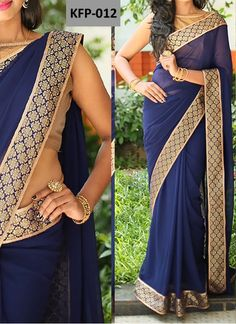 New Georgette Navy Blue Replica Saree