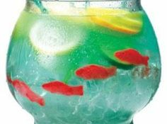 "Tipsy Bartender ""Fish Bowl"" in Mini version (individual fishbowls): 1.5 oz. Vodka 1.5 oz. Coconut Rum 1 oz. Peach Schnapps 1 oz. Rose's Blue Raspberry Cocktail Mix (instead of UV Blue Rasp. Vodka) 4 oz. Sprite Garnish with large orange slices & Swedish Fish."